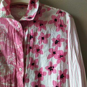 Cuno Pink Floral Cotton Long Sleeve - crinkled -S